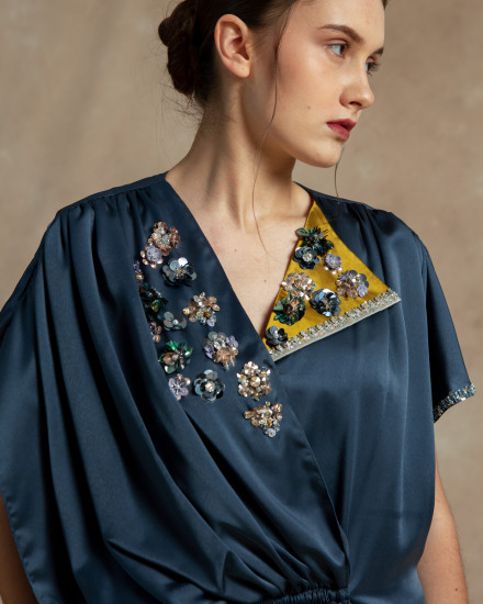 Maxime Origami Kaftan in Stormy Blue